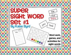 Sight Word Super Set #1- A huge set of activities and games for 30 sight words.  $