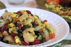 Mediterranean Three Bean and Corn Salad, it's so filling:)  #beansalad