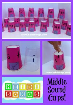 Middle Sound Cups -- How to Teach Kids to Find the Middle Sound of a Word