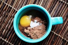 Chocolate Mug Cake   Dump the ingredients right in your mug.  2 Tablespoons almond butter   1 1/2 Tablespoons honey (1Tbsp wasn't quite sweet enough for me.)   1-2 Tablespoons cocoa powder (I just heap a Tablespoon as heaping as it gets.)   1/2 teaspoon baking powder   1/2 teaspoon vanilla   pinch of salt   1 egg