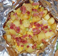 EASY side dish: Cheesy Grilled Potatoes Recipe (no clean up, even better!)