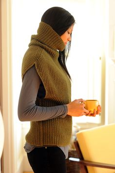 Danforth Pullover pattern by Pam Allen (knitting, turtleneck, sleeveless, quince and co) —— featured in New Favorites: great for layering...