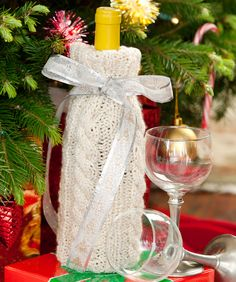 Cable Knit Wine Bottle Cover