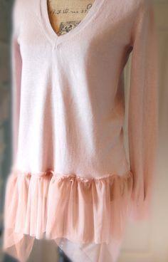 Taupe Pink Beige Sweater Silk Cashmere Blend V by OfLinenandLace