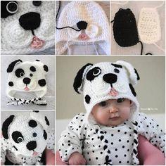 How to DIY Cute Crochet Dalmatian Dog Baby Hat      ♪ ♪ ... #inspiration #diy GB http://www.pinterest.com/gigibrazil/boards/