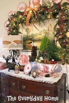 holiday, buffets, christma decor, everyday, christma buffet, soup tureen, homes, red dish, christmas buffet