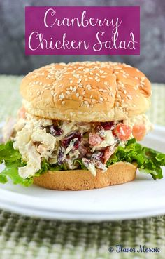 Cranberry Chicken Salad Sandwich, with cranberries, pecans (or walnuts), tomatoes, onions and celery