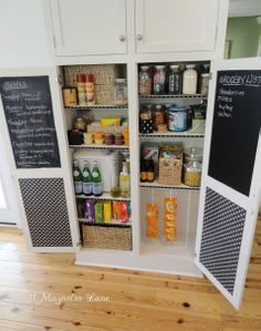 Cover pantry doors with Chalkboard paint for grocery lists, meals for the week etc.!   #chalkboard #pantry doors #grocery lists