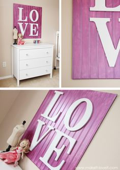 Smart!  Bead board + letters. Darling!