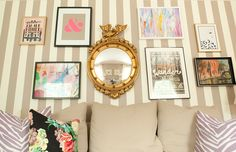 Jessie Epley Short Home Tour // striped walls // gallery wall // beige sofa