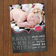 Chalkboard Birth Announcement Cards - baby girl or baby boy options. $15.00, via Etsy.
