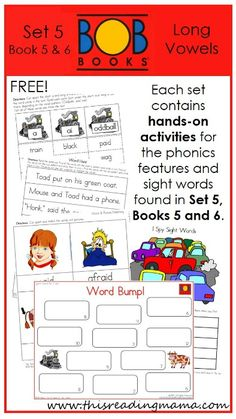 FREE BOB Book Printables for Set 5, Book 5 (The Train) and 6 (The Visit) | This Reading Mama