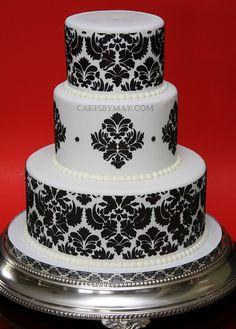 damask pattern, cake idea, damask wedding, elegant cakes, red roses, gluten free, white weddings, white wedding cakes, black