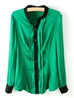 Color Block Trendy Stand Collar Single Breasted Long Sleeve Shirt For Women