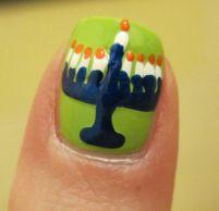 Happy Chanukah Nail Art.