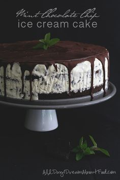 Low Carb Mint Chocolate Chip Ice Cream Cake - All Day I Dream About Food.  MUST. MAKE. SOON.