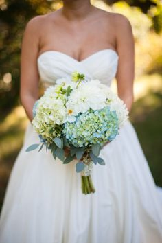 blue and white hydrangea bouquet
