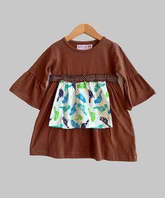 Look what I found on #zulily! Brown Paisley Bird Apron Dress - Toddler & Girls by Heather Hill #zulilyfinds