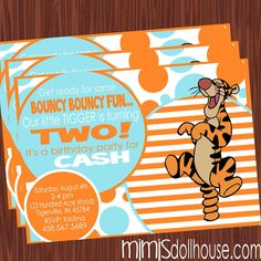 Tigger Invitation- Bouncy Tigger Invitation- Birthday Invitation- JPEG/PDF. $11.99, via Etsy.