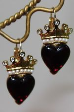 Lovely Vintage TRIFARI Red Crowned Heart Dangle Earrings Hooks Lucite