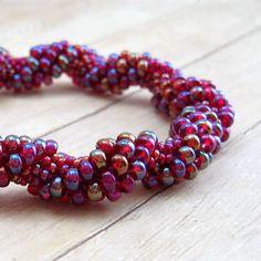 Purple Bead Crochet Bracelet, Spiral Beaded Bangle, Seed Bead Tube Jewelry