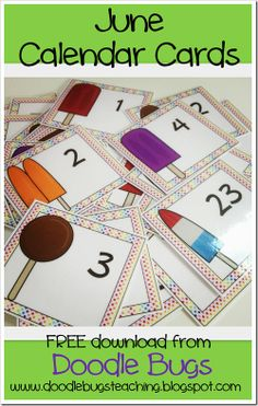 free calendar cards for june.. Ice Cream! download for free!