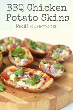 BBQ Chicken Potato Skins   Real Housemoms   These are my FAVORITE potato skins!!!!! Just like Wood Ranch! food recipes, foods, wood ranch, bbq chicken potato skins, bbq sauces, chicken bbq recipes, chicken onions and potatoes, chicken potatoes, bbq potatoes