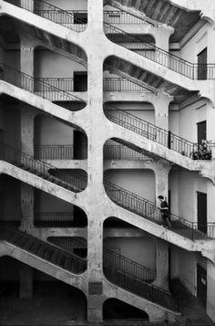 graphic, stairs, stairway, pattern, black white, stairwells, urban architecture, lyon, street photography