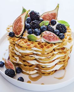 Cardamom Waffle Cake with Figs, Fall Berries, & Maple Syrup - via Sweet Paul Magazine #18 - Fall 2014 #SweetPaul