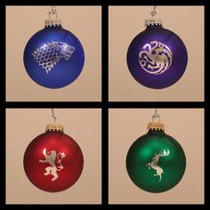 Game of Thrones Laser Engraved Christmas Ornaments - Set of 4