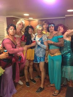 Guys dressed as Disney Princesses for Halloween! Merciful heavens I cant stop laughing at Mulan