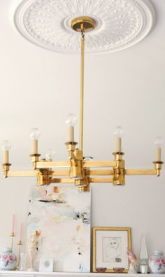 Modern chandelier with traditional ceiling medallion (my future home will have ceiling medallions and chandeliers )