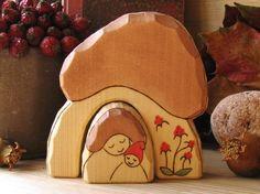 GNOME HOME    mushroom house with mom and baby gnomes door Rjabinnik