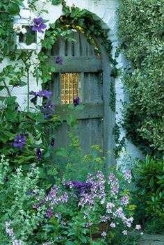 green door with clematis
