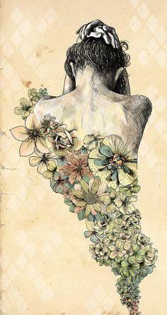 tattoo ideas, artists, illustrations, art prints, flower children, flowers, turtle tattoos, gabriella barouch, fashion drawings