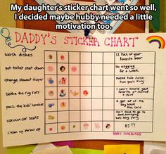 Dad's sticker chart, from mom…