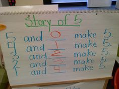"First write the ""Story of 5"" and then make number bracelets with pipe cleaners and beads to match the stories."