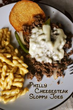 A twist on the classic Philly Cheesesteak! I can totally see this with a London broil in the crock pot all day.  Yum!