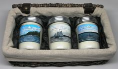 Business or Teacher Gift Basket. Preserver Jar Soy Candles in 3 Scents hand poured by CT River Candles