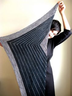 stripe study shawl knit by Terhi