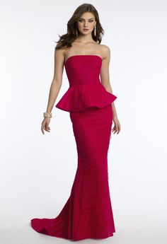 Camille La Vie Mesh Peplum Tiered Prom Dress with Red. Stunning!