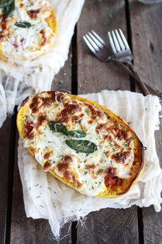 Roasted garlic spaghetti squash lasagna -- loaded with cheese!