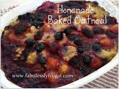 Homemade baked oatmeal with berries! What to do with all those raspberries in your backyard? Bake 'em in your oatmeal! http://fabulesslyfrugal.com/?p=158917