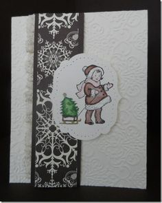 My cute little Greeting Card Girl done in Brown. More details on my blog at   http://www.stampingleeyours.blogspot.com