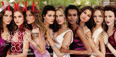 Vogue, September 2004. Photographed by Steven Meisel.  From left: Daria Werbowy, Natalia Vodianova, Gisele Bündchen, Isabeli Fontana, Karolina Kurkova, Liya Kebede, Hana Soukupova, Gemma Ward, Karen Elson