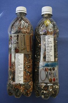 """Plastic bottles,10-20 small objects for each bottle, Strong glue  Filler options:rice, birdseed, sand, salt, plastic pellets      1. Remove label from bottle and make sure it's completely DRY.    2. Line up items as a """"key."""" Take a picture. Type a list of items as well. Print both and tape to bottle.    3. Drop all objects in bottle. Pour the filler in next. Make sure you only fill the bottle 3/4ths full. You will want enough room for the items to move easily.  4. Glue the lid in place."""