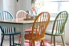 paint furniture, chair redo, painted chairs, chalki paint, craft rooms