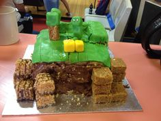 Homemade attempt at minecraft birthday cake. My son loved it :)