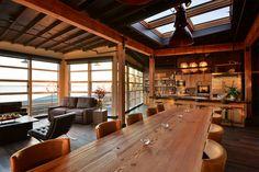 design inspiration via Beecher's Loft / skylights, open plan, tall windows for treehouse feel