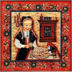 """Norwegian Trivet Tile """"Rosette Girl"""" with recipe 6"""" X 6"""" Suzanne Toftey art"""